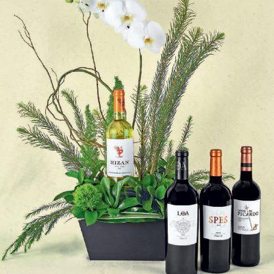 regalos de flores y vinos