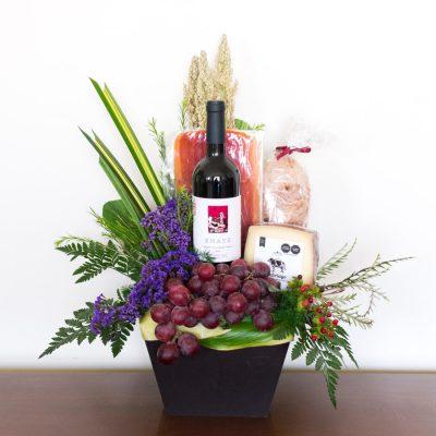 Regalos con vino y frutas